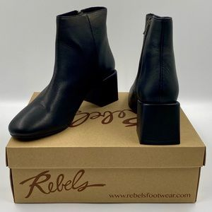 Rebels Black Leather Ankle Boots